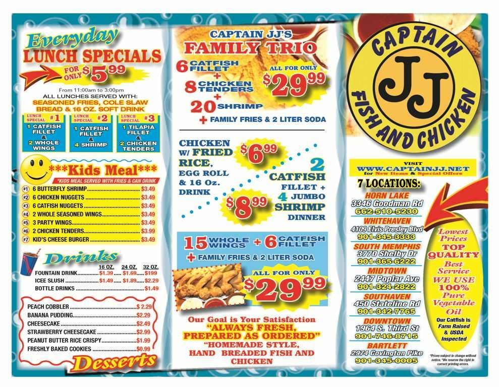 Menu captain jj fish and chicken restaurant for J j fish menu